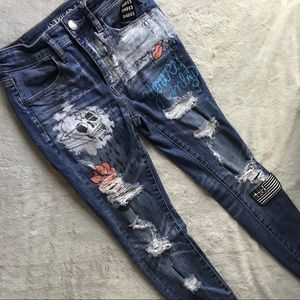 American Eagle Distressed Paint Patch Hi-Rise Jean